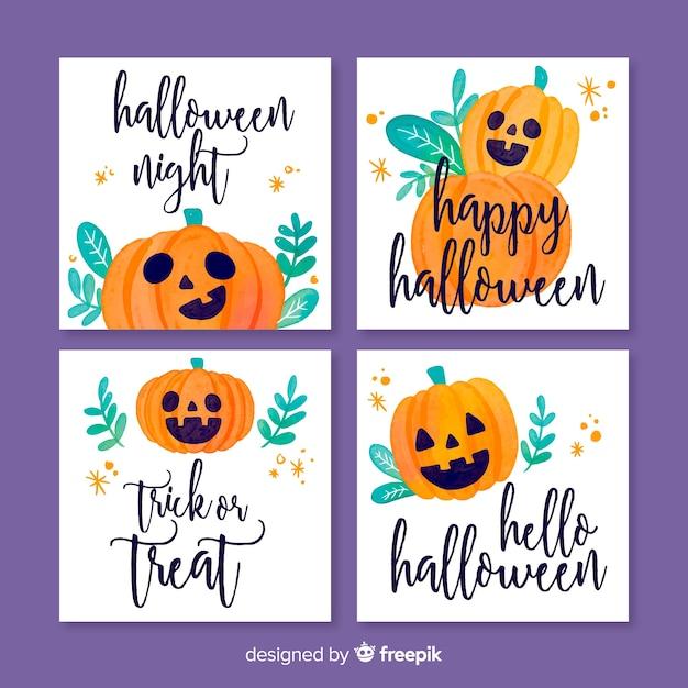 Collection de modèles de cartes aquarelle halloween Vecteur gratuit