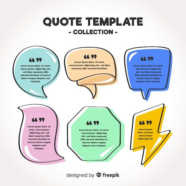 Collection de modèles de citation dessinés à la main Vecteur gratuit