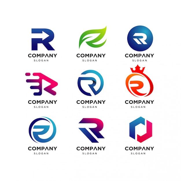 Collection de modèles de conception de lettre r logo, logo moderne r Vecteur Premium