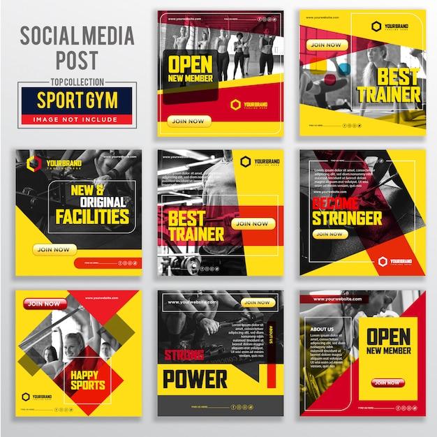 Collection de modèles de conception de publication de médias sociaux Vecteur Premium