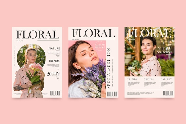 Collection De Modèles De Couverture De Magazine Avec Photo Vecteur gratuit