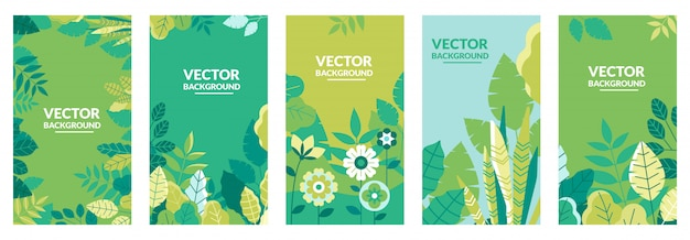 Collection de modèles de couverture nature Vecteur Premium