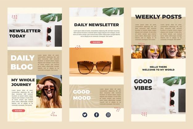 Collection De Modèles D'e-mails De Blogging Vecteur gratuit