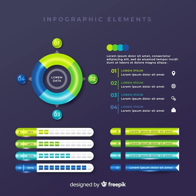 Collection de modèles d'éléments colorés infographiques Vecteur gratuit