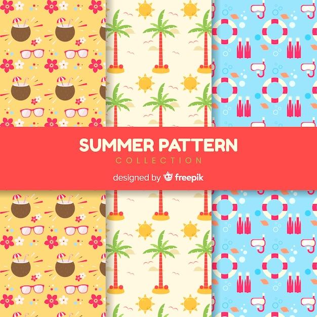 Collection de modèles d'été plat Vecteur gratuit