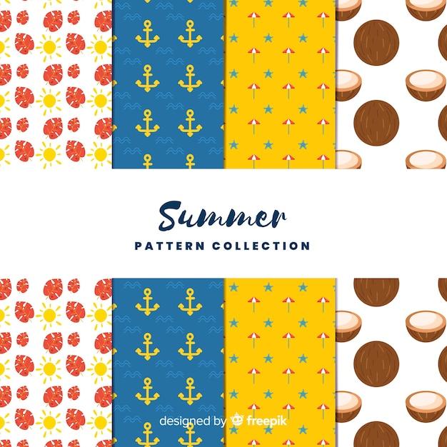 Collection de modèles d'été Vecteur gratuit