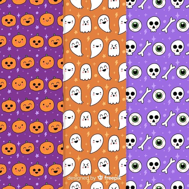 Collection de modèles de fête d'halloween avec citrouilles et crânes Vecteur gratuit