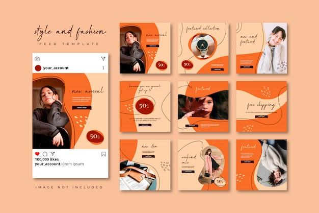 Collection De Modèles De Flux De Puzzles De Médias Sociaux De Mode Automne Vecteur Premium