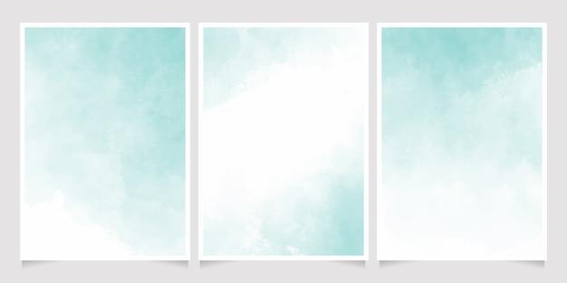 Collection De Modèles De Fond De Carte Invitation 5 X 7 Aquarelle Pastel Vert Vecteur Premium