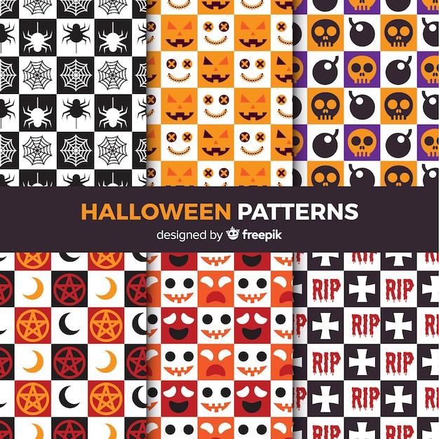 Collection de modèles de halloween colorés avec un design plat Vecteur gratuit