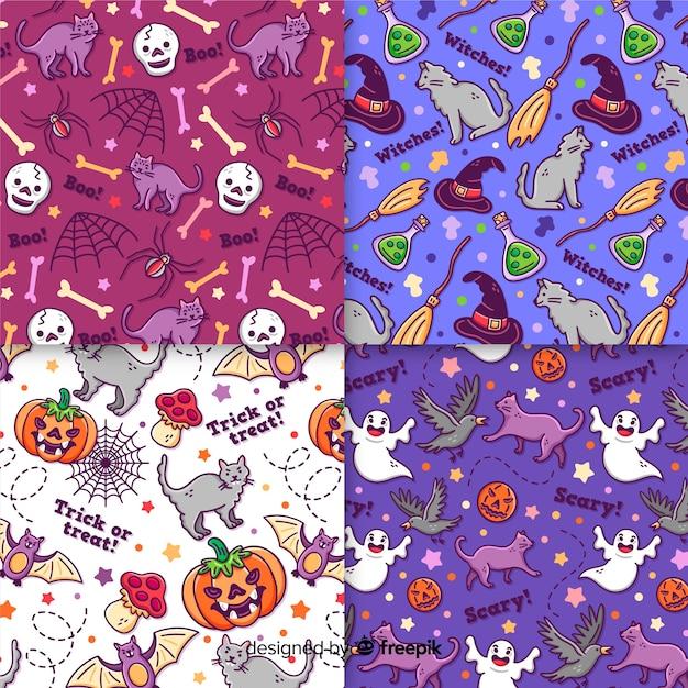 Collection de modèles halloween dessinés à la main sur des nuances de couleurs violettes et violettes Vecteur gratuit