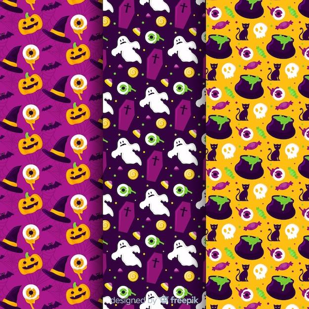 Collection de modèles halloween plat citrouille et fantôme Vecteur gratuit