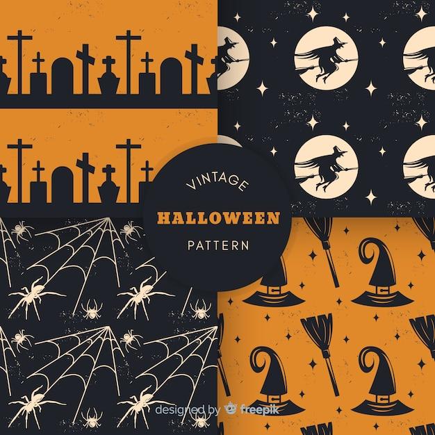 Collection de modèles halloween vintage Vecteur gratuit