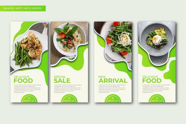 Collection De Modèles D'histoires Culinaires Instagram. Vecteur Premium