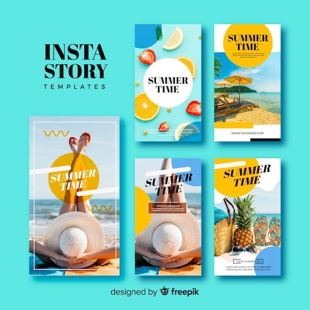 Collection de modèles d'histoires d'été instagram Vecteur gratuit