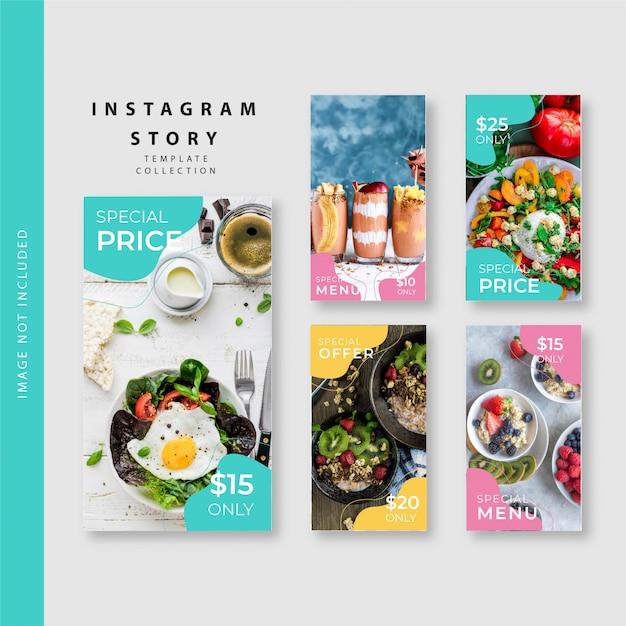 Collection De Modèles D'histoires D'instagram Culinaires Vecteur Premium