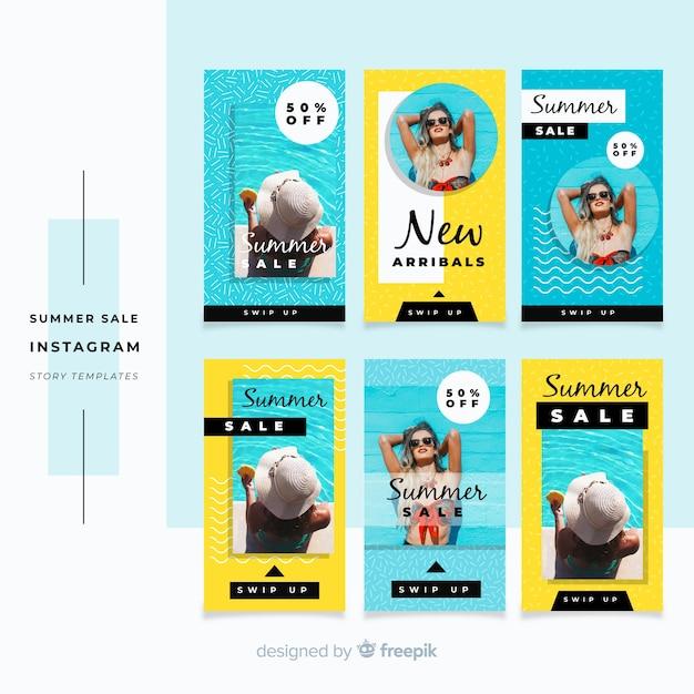Collection de modèles d'histoires d'instagram de vente d'été Vecteur gratuit