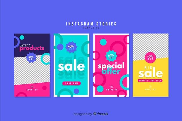 Collection de modèles d'histoires de vente instagram Vecteur gratuit