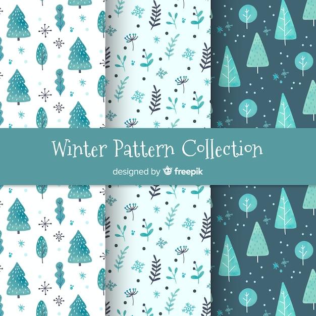 Collection de modèles d'hiver aquarelle Vecteur gratuit