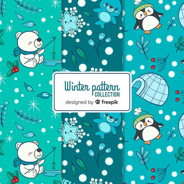 Collection de modèles hiver dessinés à la main belle Vecteur gratuit
