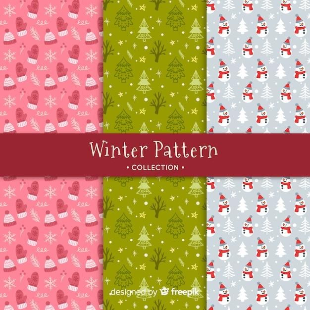 Collection de modèles hiver dessinés à la main Vecteur gratuit