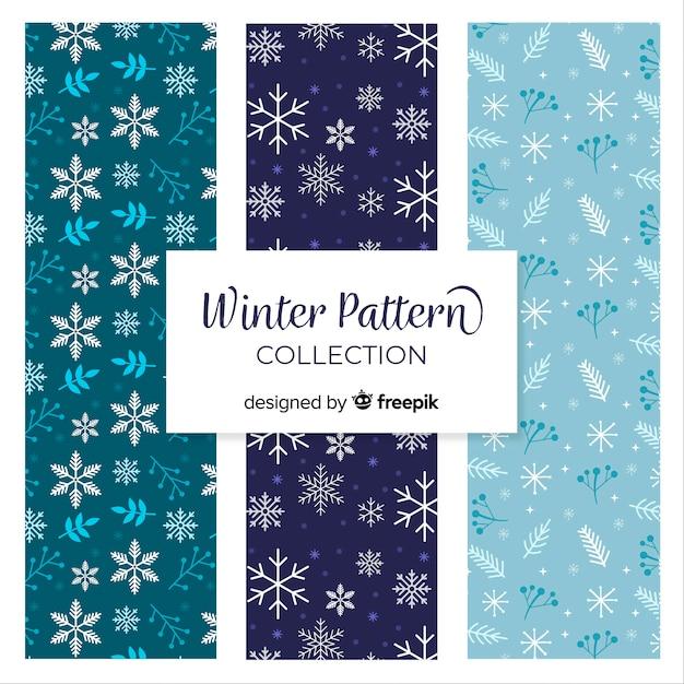 Collection de modèles d'hiver de flocons de neige Vecteur gratuit