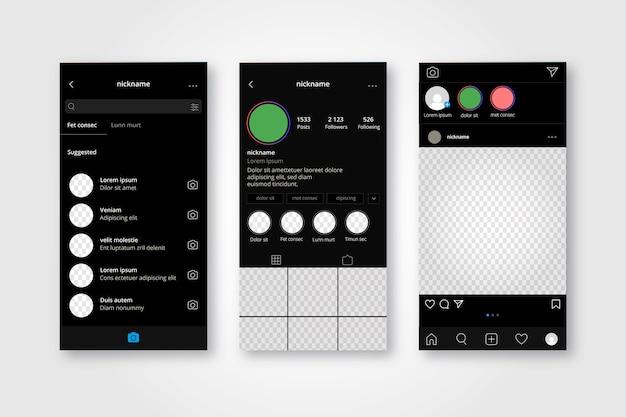 Collection De Modèles D'interface De Profil Instagram Vecteur gratuit