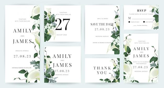 Collection de modèles d'invitation de carte de mariage Vecteur Premium