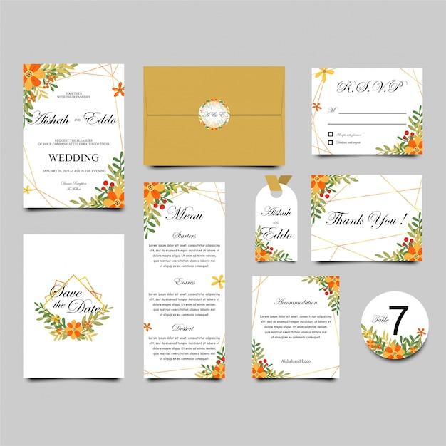 Collection de modèles d'invitation de mariage Vecteur Premium