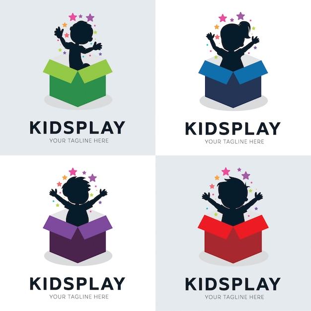 Collection De Modèles De Jeux Pour Enfants Dans Un Logo De Boîte Vecteur Premium