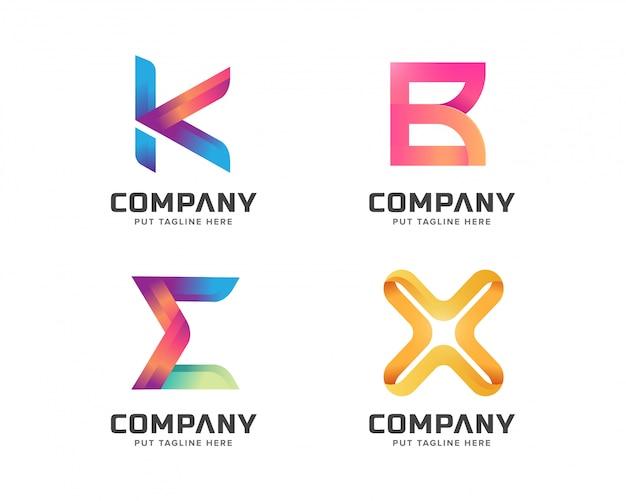 Collection De Modèles De Lettres Logo, Logotype Abstrait Pour Entreprise Vecteur Premium