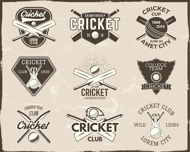 Collection de modèles de logo de cricket. emblème sportif Vecteur Premium