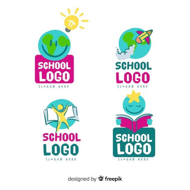 Collection De Modèles De Logo D'école Dessinés à La Main Vecteur Premium
