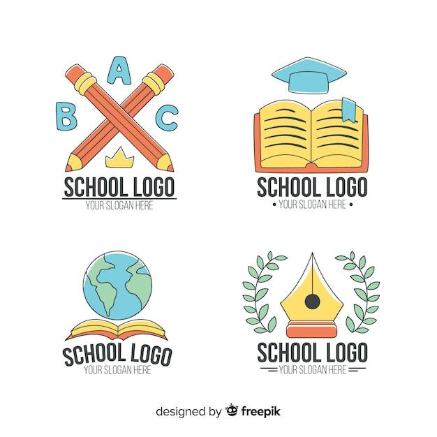 Collection de modèles de logo d'école dessinés à la main Vecteur gratuit