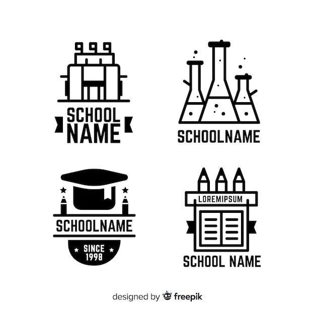 Collection de modèles de logo école plate Vecteur gratuit