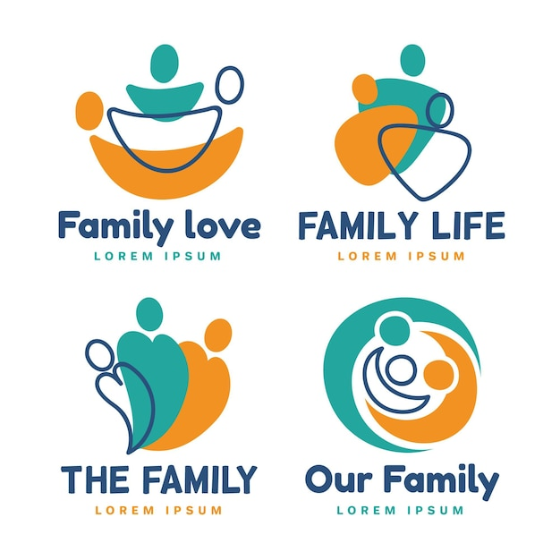 Collection De Modèles De Logo De Famille Vecteur gratuit