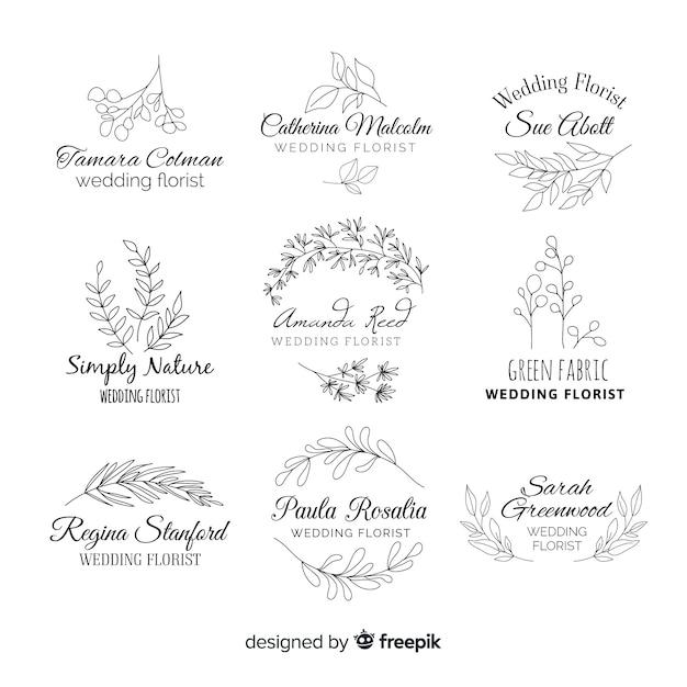Collection de modèles de logo de fleuriste de mariage Vecteur gratuit