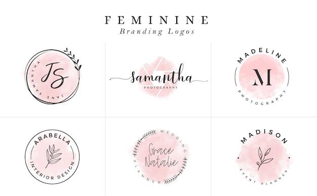 Collection De Modèles De Logo. Jeu De Logo. Logotypes Minimalistes. Création De Logo Premade Vecteur Premium