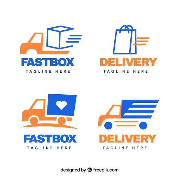 Collection De Modèles De Logo De Livraison Vecteur Premium