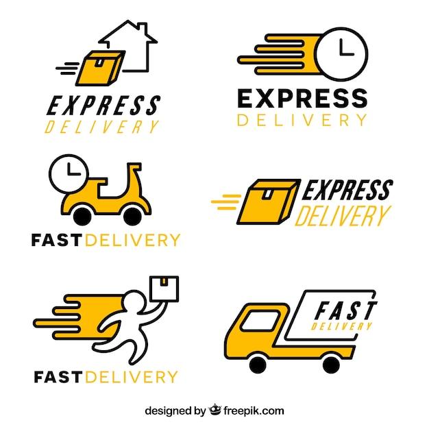 Collection de modèles de logo de livraison Vecteur gratuit