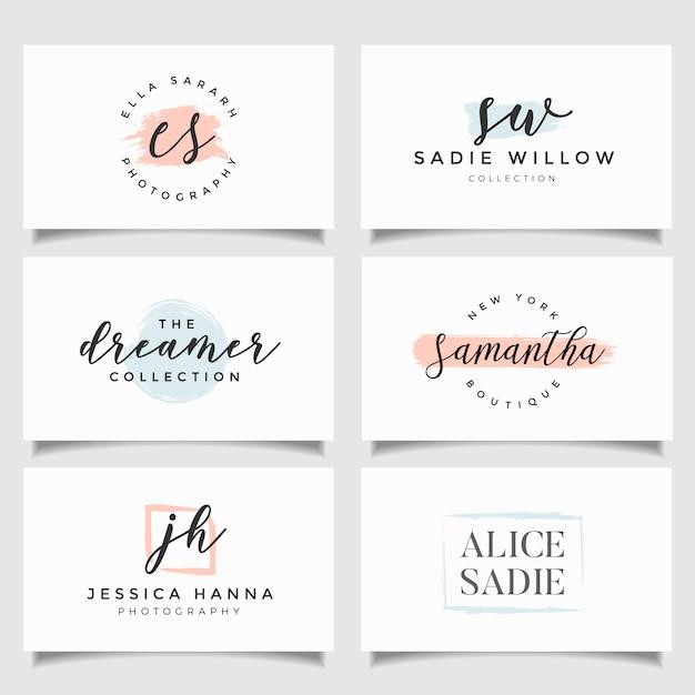 Collection de modèles de logo. logotypes minimalistes. création de logo premade Vecteur Premium