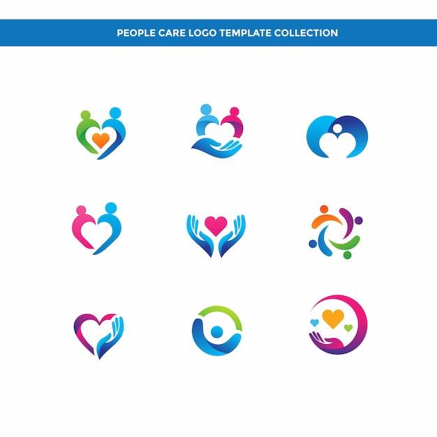 Collection de modèles de logo people care Vecteur Premium