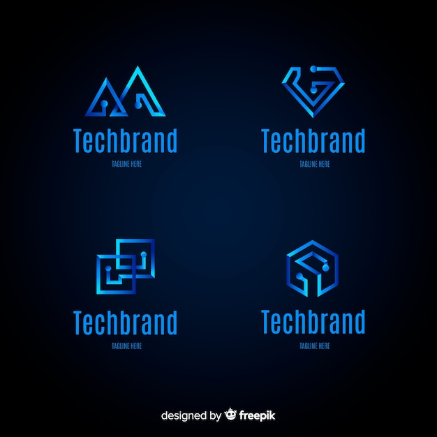 Collection de modèles de logo de technologie de dégradé Vecteur gratuit