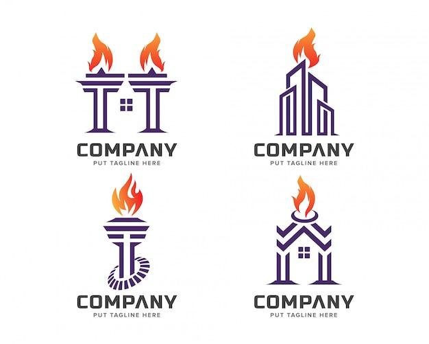 Collection de modèles de logo torche Vecteur Premium