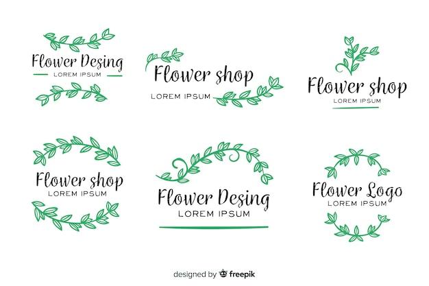 Collection de modèles de logos de fleuriste de mariage Vecteur gratuit