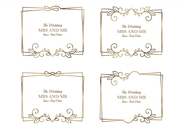 Collection de modèles de mariage floral doré Vecteur Premium