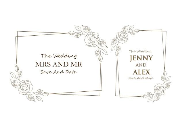 Collection de modèles de mariage floral Vecteur Premium