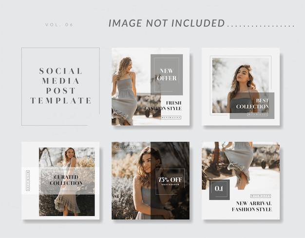 Collection de modèles de médias sociaux minimalistes Vecteur Premium