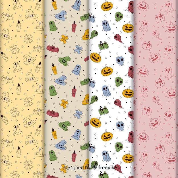 Collection de modèles mignon halloween doodles Vecteur gratuit