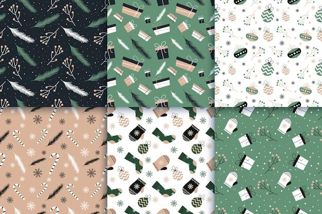 Collection De Modèles De Noël Design Plat Vecteur gratuit